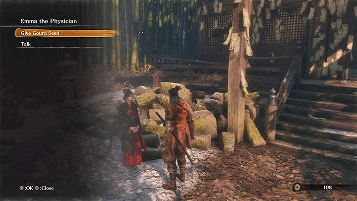 Take Gourd Seeds to Dilapidated Temple and meet with Emma the Physician - How to carry more Healing Gourds in Sekiro Shadows Die Twice? - FAQ - Sekiro Guide and Walkthrough