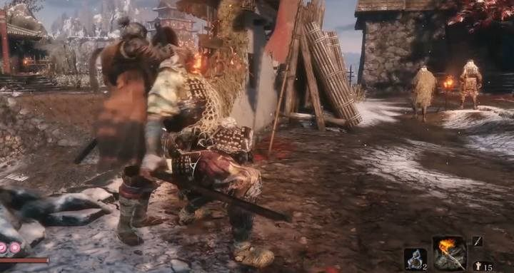 Eliminate nearby soldiers - try to be stealthy. If you do that, they wont help the boss. - General Tenzen Yamauchi | Sekiro Shadows Die Twice Boss Fight - Bosses - Sekiro Guide and Walkthrough