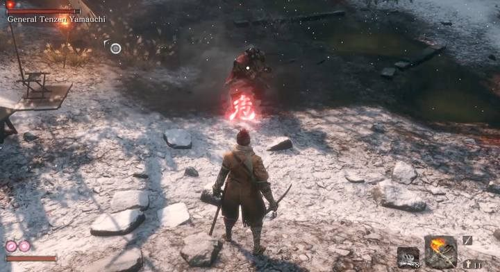Charge attack is easy to dodge. - General Tenzen Yamauchi | Sekiro Shadows Die Twice Boss Fight - Bosses - Sekiro Guide and Walkthrough