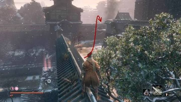 From the Fortress point at the castle gate, in Ashina Outskirts (this point is located next to the valley where you run away from The White snake) move through the walls of the fortifications, to the battle square behind the buildings - Gyoubu Oniwa | Sekiro Shadows Die Twice Boss Fight - Bosses - Sekiro Guide and Walkthrough