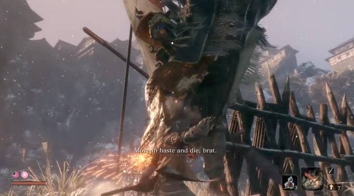 Tip: the first strikes can be applied already when the boss enters the arena and presents himself - in this stage the opponent is not attacking, but takes blows - Gyoubu Oniwa | Sekiro Shadows Die Twice Boss Fight - Bosses - Sekiro Guide and Walkthrough