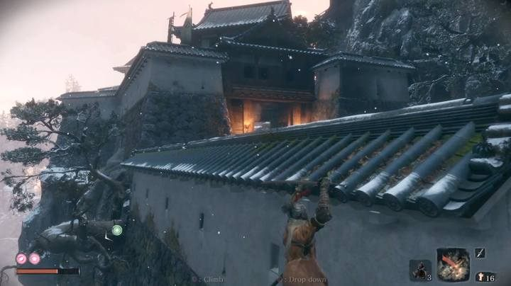 Since the last checkpoint, head up the castles; you can evade enemies - the boss battle arena is a closed zone. - The Blazing Bull | Sekiro Shadows Die Twice Boss Fight - Bosses - Sekiro Guide and Walkthrough
