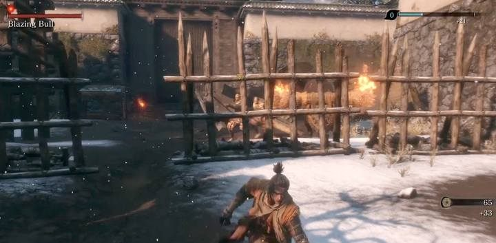 At the entrance to the arena go immediately towards the two enemies - there the bull will appear. He will kill the enemies. - The Blazing Bull | Sekiro Shadows Die Twice Boss Fight - Bosses - Sekiro Guide and Walkthrough
