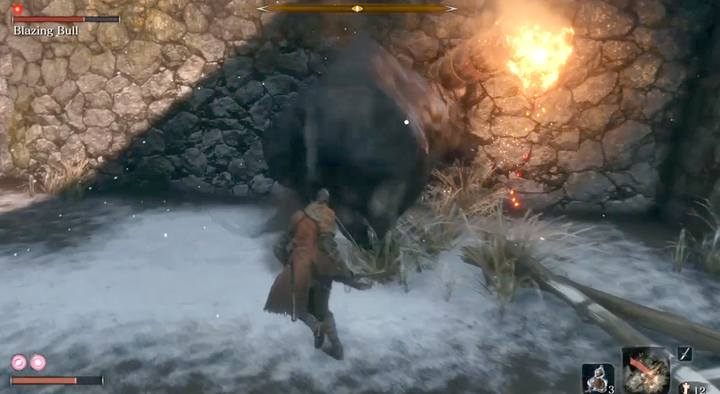 Try to drive the enemy into a corner, and turn with him, holding to his back. - The Blazing Bull | Sekiro Shadows Die Twice Boss Fight - Bosses - Sekiro Guide and Walkthrough