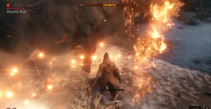 In preparation for this fight, it is necessary to take a Dousing Powder; they can be used even when you are not burning to activate the resistance system on fire - The Blazing Bull | Sekiro Shadows Die Twice Boss Fight - Bosses - Sekiro Guide and Walkthrough