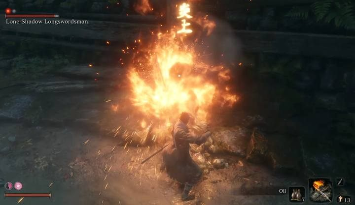 Critical arson of the enemy is signaled by a yellow marking above his head; oil helps to get this effect - Lone Shadow Longswordsman | Sekiro Shadows Die Twice Boss Fight - Bosses - Sekiro Guide and Walkthrough