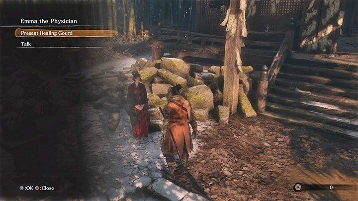 Emma the Physician is standing outside the building - Dilapidated Temple | Sekiro Shadows Die Twice Walkthrough - Main story - Sekiro Guide and Walkthrough