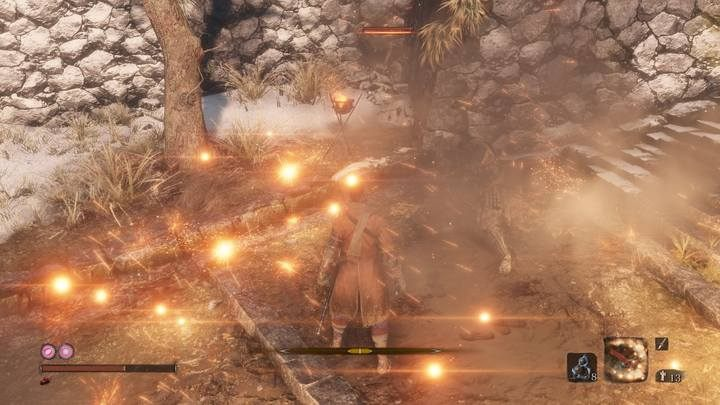 Long Spark, one of the upgrades for Shinobi Firecracker, increases the range and extends the duration of this ability - Shinobi Firecracker | Prosthetic Tools in Sekiro Shadows Die Twice - Prosthetic Tools - Sekiro Guide and Walkthrough