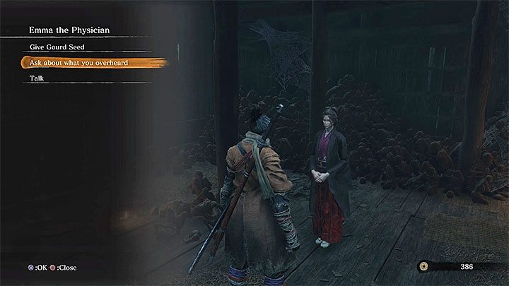 Speak to Emma and select the option in which you will ask her about what you overheard - the second dialog option - Purification | Sekiro Shadows Die Twice endings - Game Endings - Sekiro Guide and Walkthrough