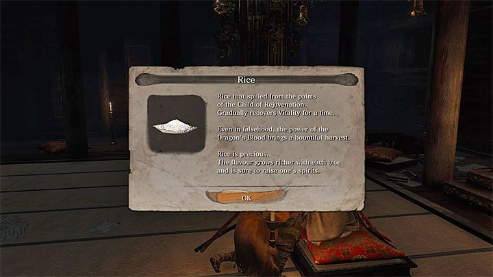 Ask the Divine Child of Rejuvenation for Rice during your first meeting - this item is an alternate way of restoring health points in Sekiro - Return | Sekiro Shadows Die Twice endings - Game Endings - Sekiro Guide and Walkthrough