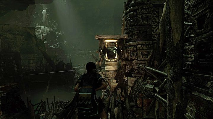Use a crank to move the middle structure with serpents head up to the right (picture 1) - How to solve the gate opening puzzle of Eye of the Serpent in Cenotes? - Solving Riddles - Shadow of the Tomb Raider Game Guide