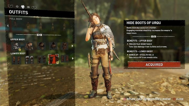 Hide Boots of Urqu can be bought from the merchant in Kuwaq Yaku for 4300 gold - To the Nines trophy in Shadow of the Tomb Raider - Trophy Guide - Shadow of the Tomb Raider Game Guide