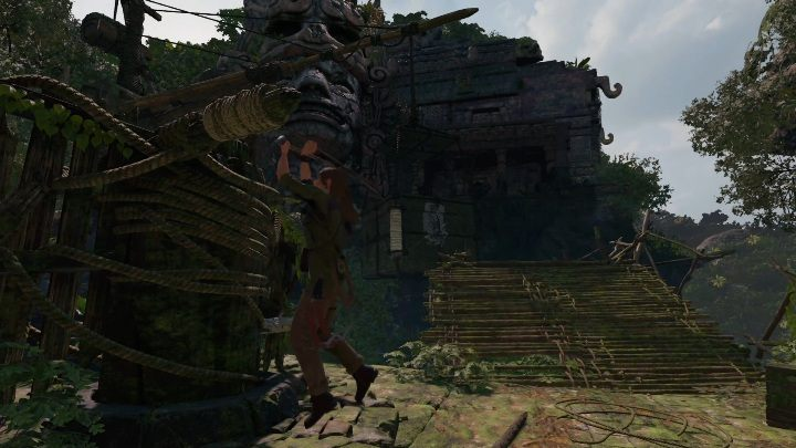 Move the mechanism once again, the use the rope to connect the crate and the mechanics - Challenge Tombs - Peruvian Jungle Tombs in Shadow of the Tomb Raider Game - Challenge Tombs - Shadow of the Tomb Raider Game Guide