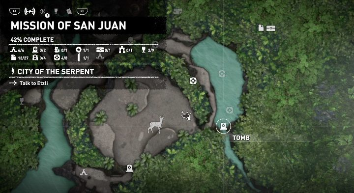 The Thirsty Gods tomb can be found in the eastern part of the location, in the middle of the lake - Challenge Tombs - Mission of San Juan in Shadow of the Tomb Raider - Challenge Tombs - Shadow of the Tomb Raider Game Guide