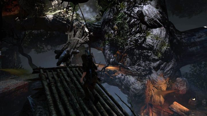 After returning to the top you can jump on a bridge made of boards - Challenge Tombs - Mission of San Juan in Shadow of the Tomb Raider - Challenge Tombs - Shadow of the Tomb Raider Game Guide