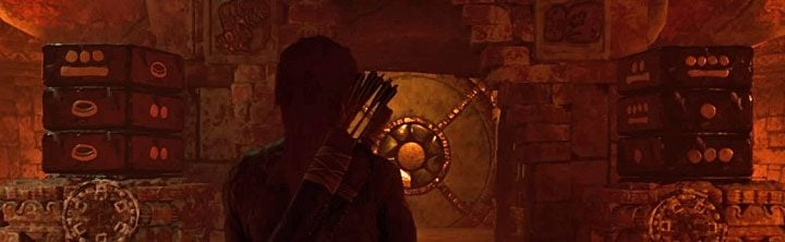 Go back to the two main dials and start manipulating them, based on the symbols in the rooms on the sides - How to solve the Gate riddle in the Kuwak Yaku in Shadow of the Tomb Raider? - Solving Riddles - Shadow of the Tomb Raider Game Guide