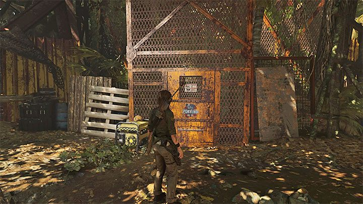 Having secured the area, find the door leading to the oil shaft, shown on the picture - Exploring the ruins - Where the Twins Confer; Path of the Living - Kuwaq Yaku - Shadow of the Tomb Raider Game Guide