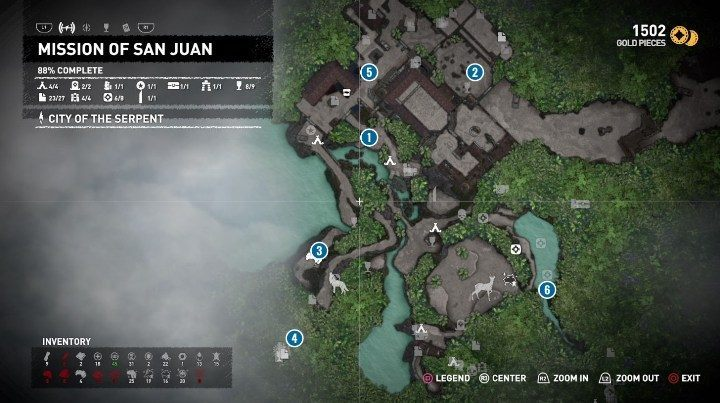 The most important locations connected to the Star Crossed side quest have been marked in the picture above - Mission of San Juan side quests in Shadow of the Tomb Raider - Side Quests - Shadow of the Tomb Raider Game Guide