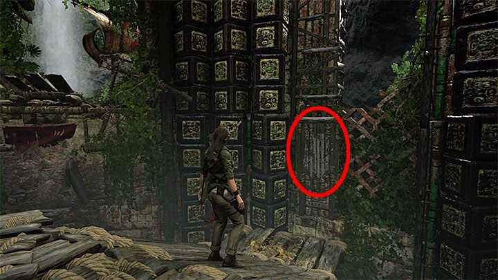 Reach the wall shown above (you have to bounce off to reach the upper ledge) - How to complete the Trial of the Eagle in Shadow of the Tomb Raider Game? - Solving Riddles - Shadow of the Tomb Raider Game Guide
