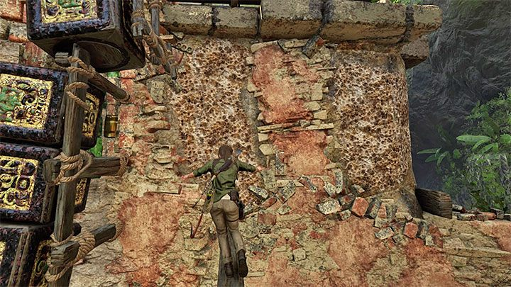 Use the beam to reach the two climbing walls shown on the picture - How to complete the Trial of the Eagle in Shadow of the Tomb Raider Game? - Solving Riddles - Shadow of the Tomb Raider Game Guide