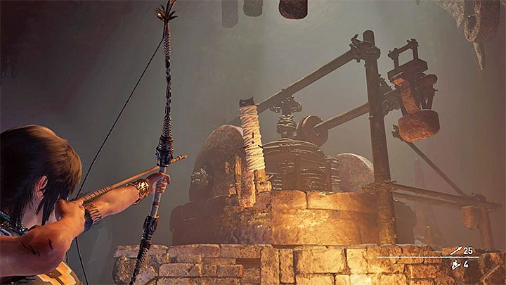 Now go back to the upper part of the hall and find a new lever with a rope coil (picture above) - Completing the Trial of the Serpent in Shadow of the Tomb Raider - Solving Riddles - Shadow of the Tomb Raider Game Guide