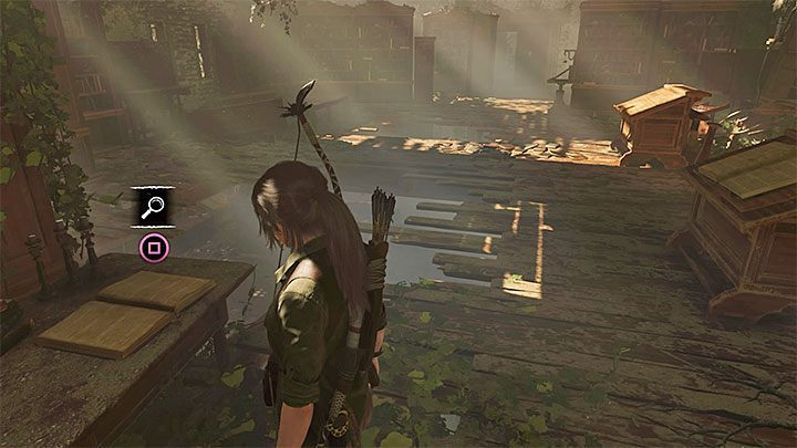 Reach the librarys upper floor - How to solve the way of the cross puzzle beneath the library in San Juan? - Solving Riddles - Shadow of the Tomb Raider Game Guide