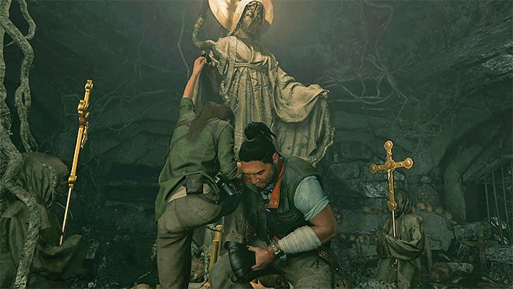 Approach Jonah and press the conversation button - How to solve the way of the cross puzzle beneath the library in San Juan? - Solving Riddles - Shadow of the Tomb Raider Game Guide