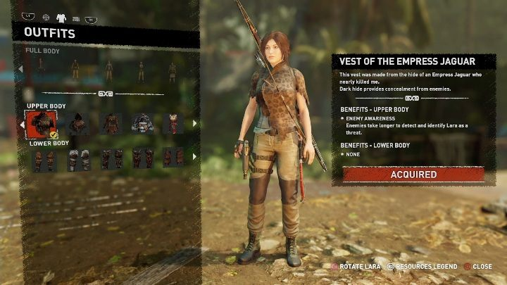 How to get - Complete the main mission - Rough Landing - All Laras outfits in Shadow of the Tomb Raider - Equipment - Shadow of the Tomb Raider Game Guide