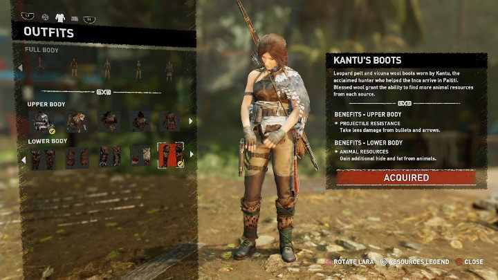 How to get - You have to buy this item at a Merchant, for 6900 gold pieces - All Laras outfits in Shadow of the Tomb Raider - Equipment - Shadow of the Tomb Raider Game Guide