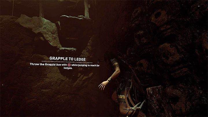 Move to the side and prepare yourself for another jump (do it in the place presented in the picture) - Exploration of the Belly and Head of the Serpent - The Hidden City - The Hidden City - Shadow of the Tomb Raider Game Guide
