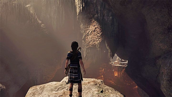 Follow the linear path until you reach the stone ledge presented in the picture - Exploration of the Belly and Head of the Serpent - The Hidden City - The Hidden City - Shadow of the Tomb Raider Game Guide