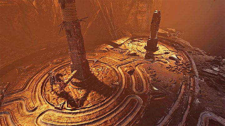 Go back to the rotating mechanism near the taller pillar - Exploration of the Belly and Head of the Serpent - The Hidden City - The Hidden City - Shadow of the Tomb Raider Game Guide
