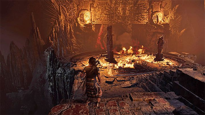 The last step is obvious - interact with the mechanism presented in the picture 1 to set the substance on fire - Exploration of the Belly and Head of the Serpent - The Hidden City - The Hidden City - Shadow of the Tomb Raider Game Guide