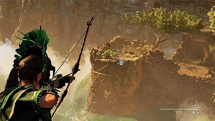 After you get out of the cell, position yourself at the edge of the rock shelf and aim the bow at the rope coil shown in the picture - Escape with Unuratu and exploration of the Sinchi Chiqa tomb - Last Emperor - The Hidden City - return - Shadow of the Tomb Raider Game Guide