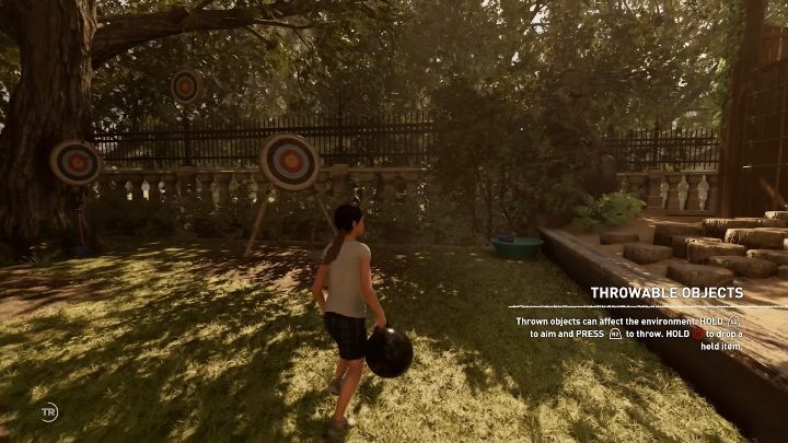 The first three throwing targets are right behind the point where the young Lara appears - Challenge | Secrects in Shadow of the Tomb Raider - Croft Manor - Shadow of the Tomb Raider Game Guide