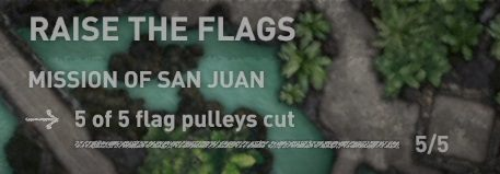 To complete the Raise the Flags challenge, you must cut the five ropes that hold the flags in the city of San Juan - Challenge | Secrects in Shadow of the Tomb Raider - Mission of San Juan - Shadow of the Tomb Raider Game Guide