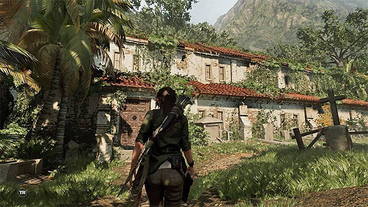 Your objective is to go to the local library - Finding the secret crypt - Via Veritas - Mission of San Juan - Shadow of the Tomb Raider Game Guide