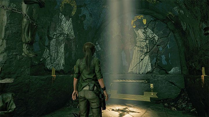 Approach the fresco and pull the lever - Exploring the secret crypt and finding the Silver Box - Via Crucis - Mission of San Juan - Shadow of the Tomb Raider Game Guide