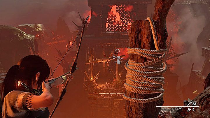 Slide down on the rope, swing and then jump towards the ledge - Exploration of the city and the final boss - City of the Serpent - The finale - City of the Serpent - Shadow of the Tomb Raider Game Guide