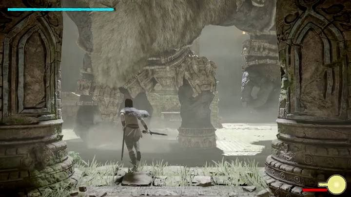 Hide below the temple and shoot at your opponent to get its attention - Colossus 6 - Barba | Shadow of the Colossus Walkthrough - Walkthrough - Shadow of the Colossus Game Guide