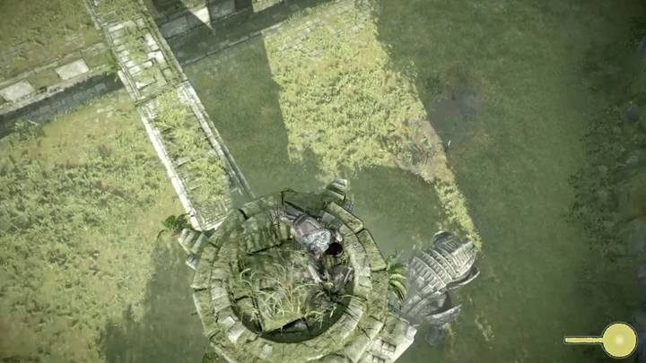 Crouch while standing on the tower in order to hold your ground after a strike - Colossus 14 - Cenobia | Shadow of the Colossus Walkthrough - Walkthrough - Shadow of the Colossus Game Guide