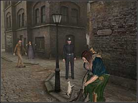 To scare policeman out of the building, Holmes will have to go to the zoo shop, where he will learn that Hardiman is offering cat food - Whitechapel, 12th September 1888 - Walkthrough - Sherlock Holmes vs. Jack the Ripper - Game Guide and Walkthrough