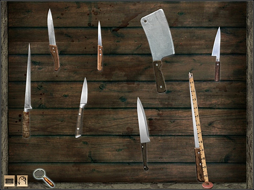 With your measure tape check all knifes and take the last one - Whitechapel, night 7/8 October 1888 - Walkthrough - Sherlock Holmes vs. Jack the Ripper - Game Guide and Walkthrough