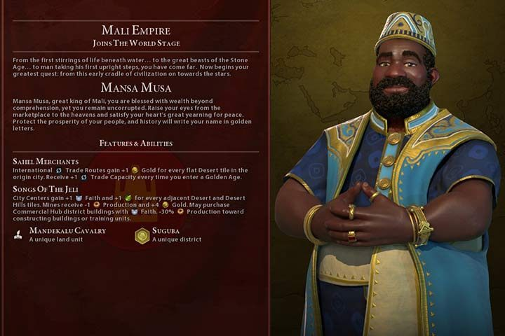 Mali (GS) | Nations in Civilization VI Gathering Storm - Sid Meier's