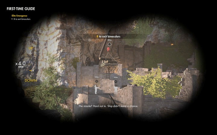 Binoculars are a your primary tool - marking enemies will allow you to track their location and show you the distance - Mission information | Mission 1: San Celini Island - Mission 1: San Celini Island - Sniper Elite 4 Game Guide