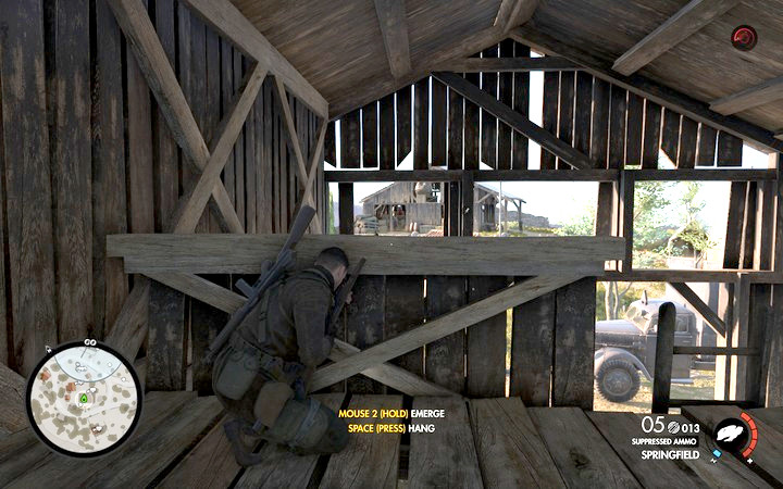 The upper part of the barn is a perfect place to take down the officer from the other building - Eliminating the officers | Mission 1: San Celini Island - Mission 1: San Celini Island - Sniper Elite 4 Game Guide