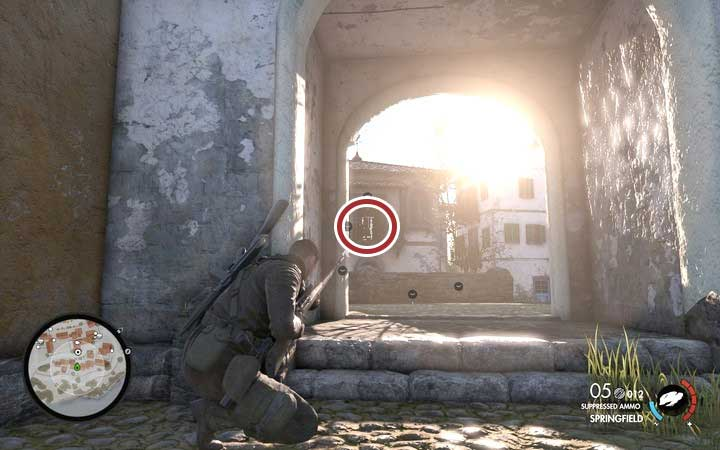 You may also assassinate the target with your hand gun - Eliminating the officers | Mission 1: San Celini Island - Mission 1: San Celini Island - Sniper Elite 4 Game Guide