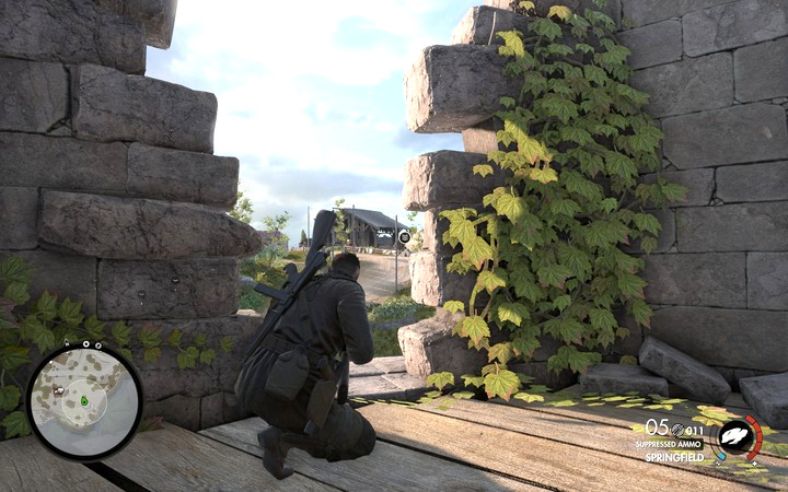 You can spot the second camera from the ruined tower - Destroying the cameras | Mission 1: San Celini Island - Mission 1: San Celini Island - Sniper Elite 4 Game Guide
