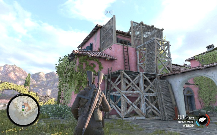 Use the ladder to reach the safe on the upper floor - Schmidts assassination | Mission 1: San Celini Island - Mission 1: San Celini Island - Sniper Elite 4 Game Guide