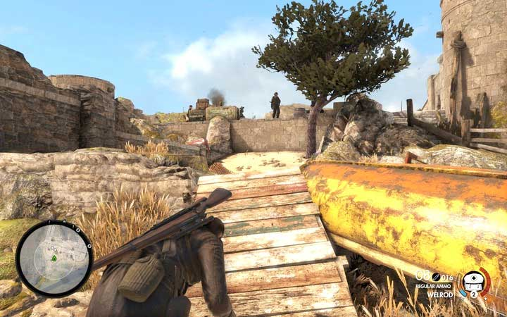 If you are fast enough, you can take out the soldier, before he even changes his position. - Mission information | Mission 2: Bitanti Village - Mission 2: Bitanti Village - Sniper Elite 4 Game Guide